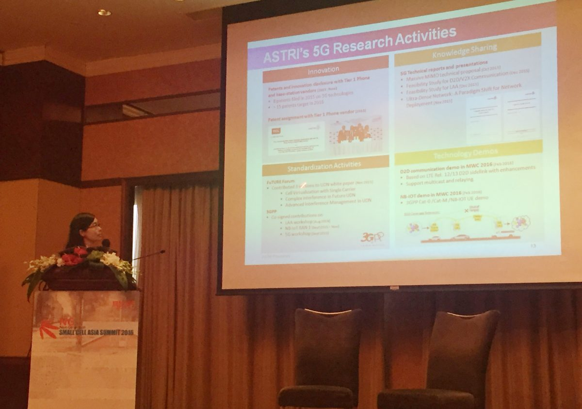 ASTRI's R & D expert shares telecommunications technology for smart city at the Next Generation Small Cell Asia Summit 2016, Shanghai, China