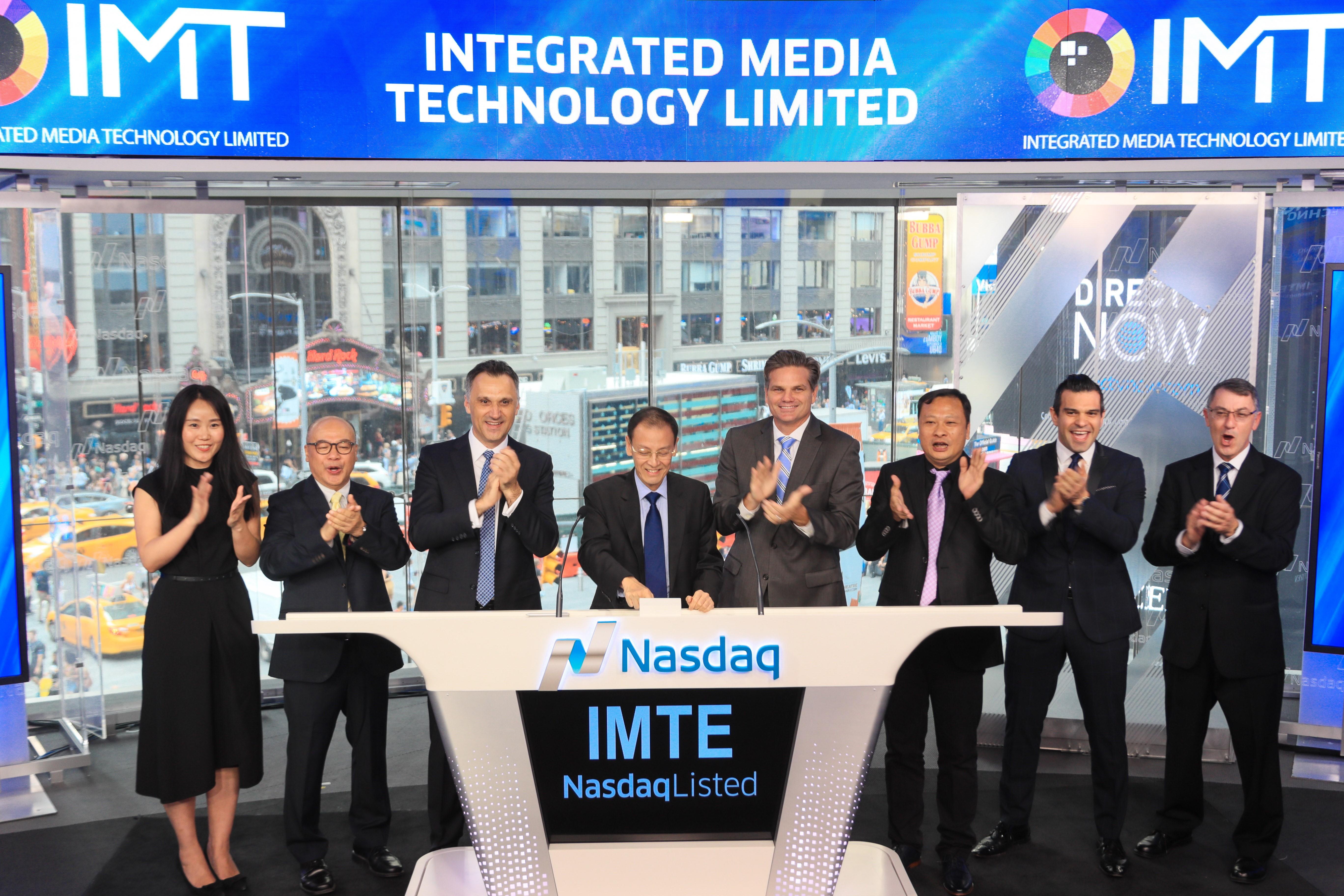 应科院合作伙伴Integrated Media Technology于美国纳斯达克上市,进行敲钟仪式